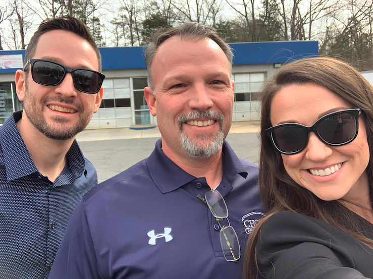 Rob Choisser, owner of Choisser Automotive, with Turnkey's owner and Director of Marketing, Carrie-Lynn Rodenberg and Joe Flammer.